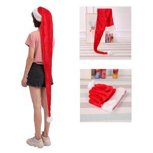 YOMDID Взрослых детей Длинного Рождества Hat Red Hat для Плюшевого Санта Клаус Капа Нового года 2020 партии Новогоднего украшения для дома