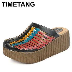 Scarpe TIMETANG estate Donna pantofole chiuse Toes Hollow Tacchi Out grossa mano donne del cuoio genuino della piattaforma incunea Slides
