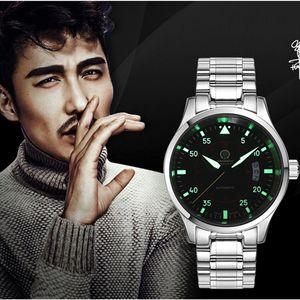 Mens Watches Top Automatic Mechanical Watch Men Carnival Steel Strap Luminous Wristwatch Male Clock reloj hombre