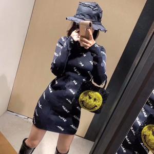 2020 Yeni kadın uzun kollu mektup baskı tunik elbise kalem sonbahar elbise artı boyutu S M L BODYCON örme