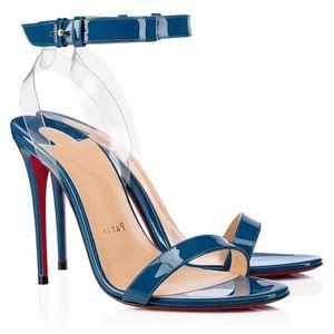 Verão Mulheres Sandals Sexy Salto Alto, Couro França Mulher Red Soles Sandália de Patentes Jonatina PVC Sandals Positano Transp transporte rápido
