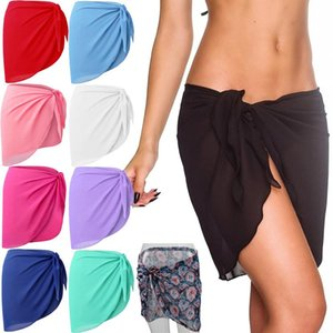 15 color One piece Sarong Beach Skirt Multifunctional Solid Color Swimwear Bikini Vest Wrap Sunscreen Short skirt Summer Beach Cover DHE924