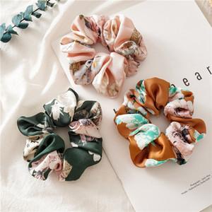scrunchie kızlar prenses hairbands çocuklar elastik at kuyruğu tutucu kadın saç aksesuarları A4008 saten Moda çocuklar çiçekler