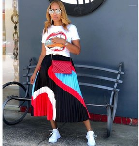 Pleated Skirt Fashion Summer Casual Long A Line Skirt Famale Designer Clothes Womens Contrast Color