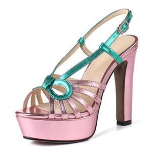 ENMAYER Donna Sandali estate Scarpe colori misti Piattaforma spessa tallone Party Shoes Sexy fibbia Super High Heel Sandals femminile 33-40