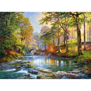 JMINE Div 5D woods natural landscape River Bridge Full Diamond Painting cross stitch kits art Scenic 3D paint by diamonds 0924