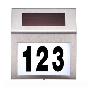 Solar Powered LED Light Sign House Hotel Door Address Plaque Waterproof Number Digits Plate Lamp For Home Lighting Sign White Light 10161