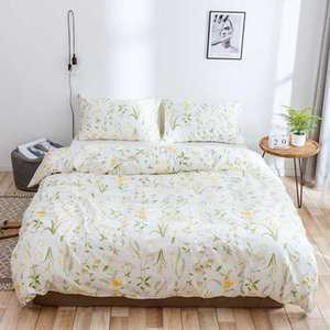 WUJIE 2Pcs 3Pcs Flower Pattern 100% Cotton Comforter Bedding Set with Pillowcase Duvet Cover Set Twin Queen King Home Textile