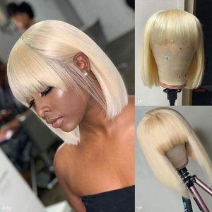 IShow brasileña 613 Rubio Corto Bob color pelucas recta pelucas de pelo humano con Bangs india peruana del pelo Ninguno de encaje pelucas para mujeres Negro