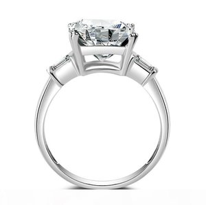 K Women &#039 ;S Square 5 Ct Three Stone Big Jewelry Ring Pure 100 %925 Sterling Silve White Topaz 5a Zirconia Cz Engagement Wedding Ba
