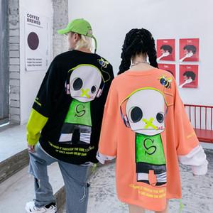 INS europeus e americanos marca de moda Mens Hip-hop Headphones personagem de banda desenhada rodada Casais Neck Sweater soltas BF preguiçoso vento camiseta Fashio