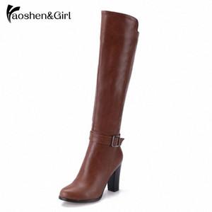 HaoshenGirl scarpe da donna inverno stivali alti al ginocchio con fibbia Zipper Stivali da equitazione lungo Inghilterra Stile avvio a caldo calza il formato 34 43 Verde Stivali C tAhq #