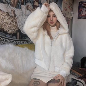Sisterlinda donne incappucciato Faux Fur Coat Moda a maniche lunghe spessore caldo giacca invernale Slim Outfit Zipper cappotto Mujer Jacket 2020New