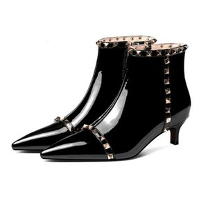 Kitten Heel Wedding Women Patent Shoes Genuine Leather Boots Cow Muscle Sole Zipper Boot For Ladies