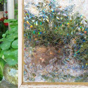 Efecto color del arco iris Decoración lámina para ventanas estático auto adhesivo Stained Glass privacidad de Control de calor del papel de tinte de la ventana de la ventana pegatinas