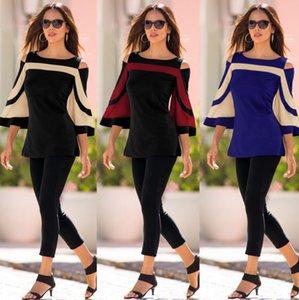 las mujeres del palo tshirt camiseta ropa sólido suelto otoño cosido sin tirantes de la manga Suéter niñas Pullover Camiseta tapas de la blusa CZ81004