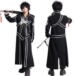 Sword Art Online SAO Кирито Kirigaya Kazuto Robe Косплей костюмы Длинные пальто пальто (плащ + ремень + Погоны)