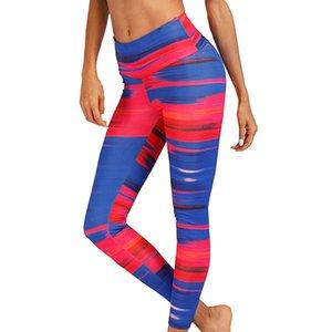 Sport taille haute Leggings Vêtements Femmes Fitness Training Course Pantalons Yoga Stripe Leggings Yoga imprimé numérique