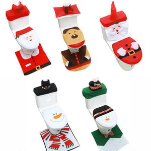 3PCS / مجموعة فانسي سانتا تغطية مقعد المرحاض والحمام البساط مجموعة ديكور عيد الميلاد عيد الميلاد زينة عيد رأس السنة DHL شحن مجاني