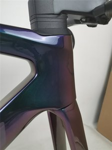 High quality carbon road bike frame colorful chameleon color suitable for Di2 group 700C road bicycle carbon frameset