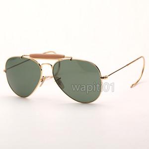 mens piloto moda gafas de sol al aire libre Hombre gafas de sol gafas de sol de la mujer de puente de doble eyewaware vidrios del verano con el caso de cuero de alta calidad