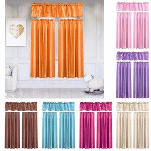 Assemblato Tinta unita Tende Valance Pelmet Set Bedroom Window Shading telo intero Pull plissettata Tape sipario aperto HTGR #