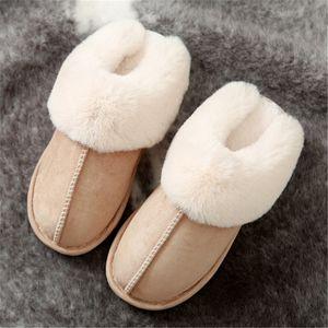 JIANBUDAN Плюшевые теплый дом плоские тапочки Легкие мягкие удобные зимние тапочки для женщин хлопка обувь Крытый плюшевые тапочки