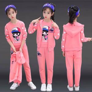 traje de primavera niñas 2020 chica nueva versión coreana de la ropa de la marea de los grandes de los niños del resorte y del otoño de los niños deportes traje de tres piezas