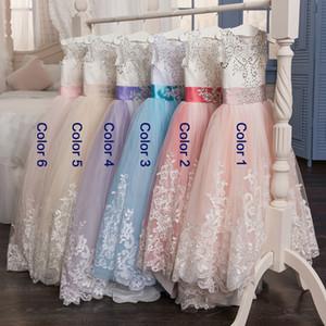 Little Queen Dress White Lace Flower Girl Dresses Wedding Party Beaded Waistline Children's Dress Flower Girls Dresses Lace Tutu Skirt Bow