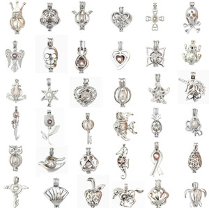 Mezcle 30 estilos Pearl Cage Pendant Love Wish Wish Pearl Natural Pearl with Oyster Pearl Mix Design Hollow Medallet