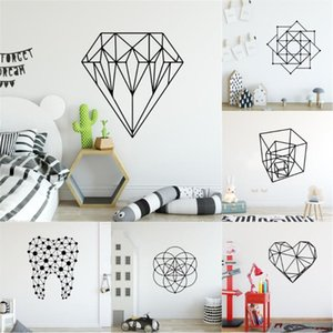 New Design Geometry Wall Stickers For Baby Room Decor Sticker For Wall Diamond Line Wallpaper Decal decoracion de salon