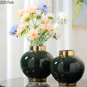 Luxe Dark Green Phnom Penh Vase de fleurs Salon du vin Cabinet Bureau Décoration Artisanat créatif en céramique ronde Vase de fleurs