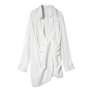 Hot Sale DEAT 2020 spring New Women Lapel Long Sleeve Irregular Turn-down Collar Female Shirt Sunscreen dobby covered hips