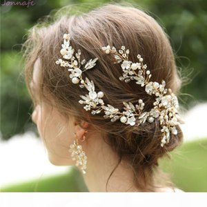 Jonnafe Handmade Delicate Women Headpiece Gold Crystal Bridal Hair Vine Crown Handmade Wedding Hair Clip Accessories Y19051302