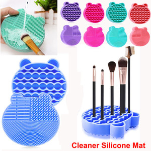 Makeup Brush Cleaning Washing Mat 2 in 1 Silicone Brushes Cleaner Dryer Tray Brush Portable Travel Cosmetic Brush Scrubber Mat Cleaning Too