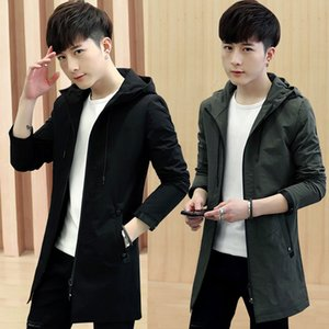 Spring and Autumn coat male medium and long Korean version trend new casual jacket men's windbreaker in the long hooded top