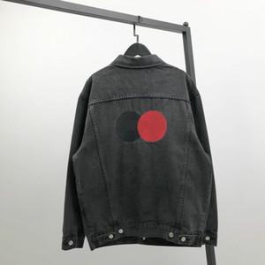 20ss rahat ceket yaka hassas klasik nakış gri-siyah büyük boy mükemmel detay patlayıcı jean tepelerini yıkanmış Retro kot ceket mens