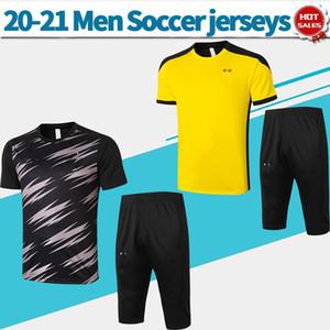 20 21 Dort traning Kit Haaland REUS GEFAHR Männer Fußball T-Shirt gelb schwarze kurze Hülse mit Hosen Trainingsanzug