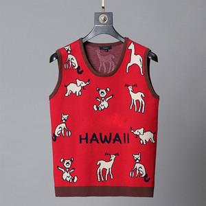 HAWALL дизайнер жилет свитер для мужчины Кофты Рубашки пуловер с коротким рукавом Осень Зима роскошь одежды вышивкой письма оленем свитера