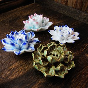 2020 new ceramic lotus insert incense sandalwood hand-made mini lotus Zen ornaments home temple crafts factory direct sales