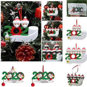 Free DHL Christmas Birthdays Party Decoration Gift Product Personalized Family Of 4 Ornament Pendant With Face Masks Hand Sanitized HH9-3274
