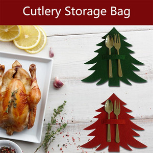 Cutlery Storage Bag Christmas Tree Shape Cutlery Pouch Dinning Table Knives Forks Holder Tableware Pocket Home Party Decor