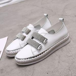 Yu Kube-echtes Kristallleder Turnschuhe Loafers Schuhe 2020 HOOkLOOP Frau Plattform Wohnungen Damen weiß Wanderschuhe