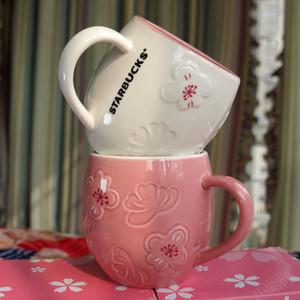 12oz starbucks fincan lüks bardaklar çift seramik kupalar kaşık ve coaster sabah kupa süt kahve çay kahvaltı Sevgililer günü