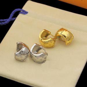 Europe America Style Lady Women Gold Silver-Colour Hardware Engraved V Initials Four Leaf Flower Nanogram Clip Hoop Earrings M68954