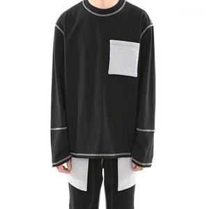 Oversize Tshirts Autumn Spring BLACK White Grey Pocket Street Tops Long Sleeved Tops Mens