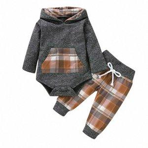 Neonato ragazza del neonato incappucciato Tops pagliaccetto tuta con tasche + Lace Up plaid Outfits vestiti Set Fyer #