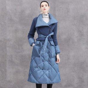 Winter Eva freedom oversized warm fluffy down coat female over the knee longer catwalk sheep fur stitching duck down jacket F354