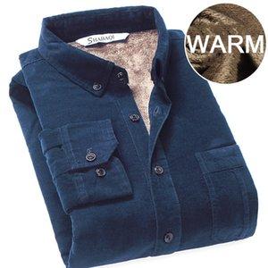 Men Corduroy Warm Winter Shirt Thick Fleece Lining Thermal Shirt S-4XL 42 43 Bottoming Shirt 200925