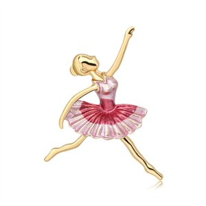 Available Enamel Dancing Girl Brooches For Women Ballet Brooch Fashion Jewelry Spring Design Pin New 2020